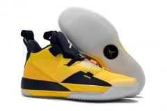Air Jordan 33 Michigan PE Yellow/Navy Blue