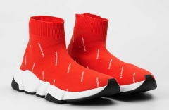 Balenciaga Speed Stretch-knit Mid Red Logo-Covered