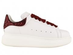 Alexander McQueen Sneaker White/Burgundy Glitter