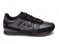 Armani Jeans Sneakers Triple Black Leather GA14