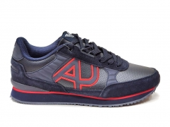Armani Jeans Sneakers Navy/Red Leather GA15