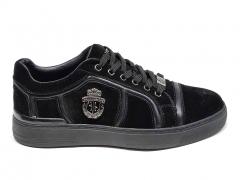 Billionaire Lo-Top Sneakers Crest Black Suede BLL20