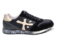Premiata Sneakers Suede/Canvas Black/Beige PM02