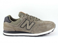 New Balance 574 Khaki/Black Suede