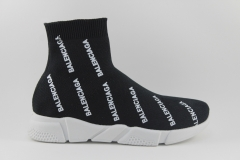 Balenciaga Speed Stretch-knit Mid Black Logo-Covered