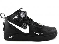 Nike Air Force 1 Mid '07 LV8 Utility Black/White (натур. мех)