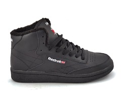 Reebok Classic Mid Leather All Black (с мехом) RC19