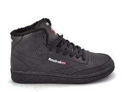 Reebok Classic Mid Leather All Black (с мехом) RC19