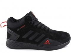 Adidas Climaproof Mid Suede Black/Red (с мехом)