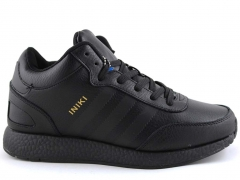 Adidas Iniki Runner Black Leather (с мехом)