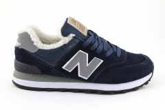 New Balance 574 dark blue (натур.мех)