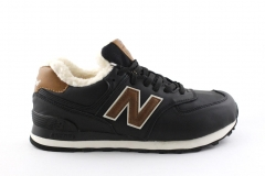 New Balance 574 Black/Brown (с мехом)