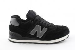 New Balance 574 Black/Grey (с мехом)