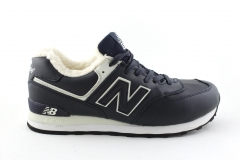 New Balance 574 Navy/White Leather (с мехом)
