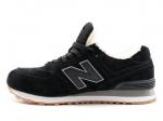 New Balance 574 Black/White Suede N19 (с мехом)