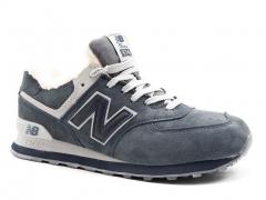 New Balance 574 Grey/Blue Suede N19 (с мехом)