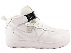 Nike Air Force 1 Mid '07 LV8 Utility Triple White (с мехом)