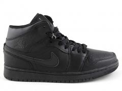 Nike Air Jordan 1 Retro All Black (натур. мех)