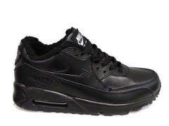 Nike Air Max 90 Black Leather (с мехом)