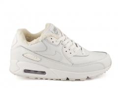 Nike Air Max 90 White Leather (с мехом)