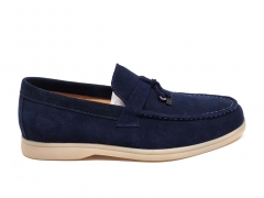 Loro Piana Moccasin Summer Walk Navy Suede LP10