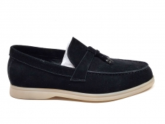 Loro Piana Moccasin Summer Walk Black Suede LP09