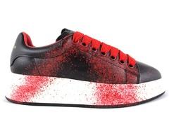 Alexander McQueen Sneaker Black/Spray Red (с мехом)