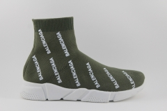 Balenciaga Speed Stretch-knit Mid Olive Logo-Covered