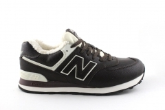 New Balance 574 Brown/White Leather (с мехом)